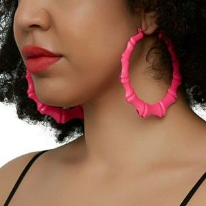 Large Pink Bamboo Earrings